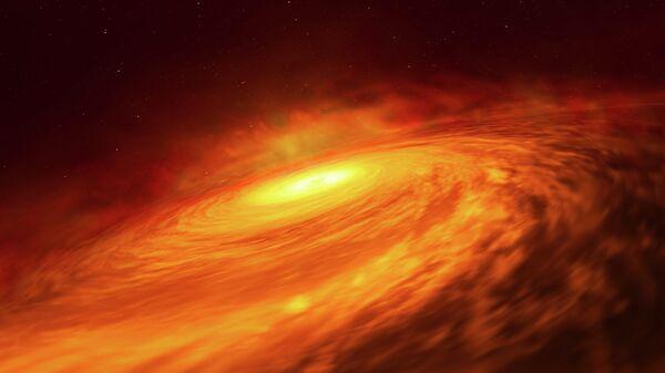 Так художник представил себе спящую черную дыру в центре галактики NGC 3147