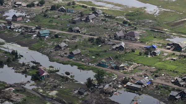 Вид на район подтопления в городе Тулуне Иркутской области. 19 июля 2019