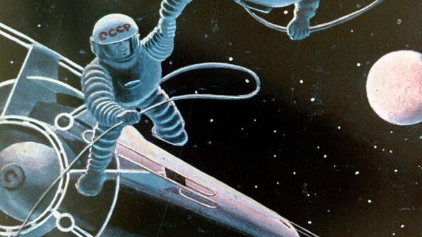 Репродукция картины Стыковка художника Андрея Соколова. 1960-е годы