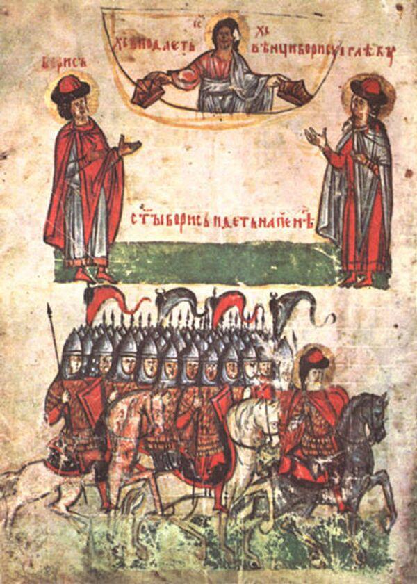 Сказание о Борисе и Глебе. Лицевые миниатюры из Сильвестровского сборника XIV века