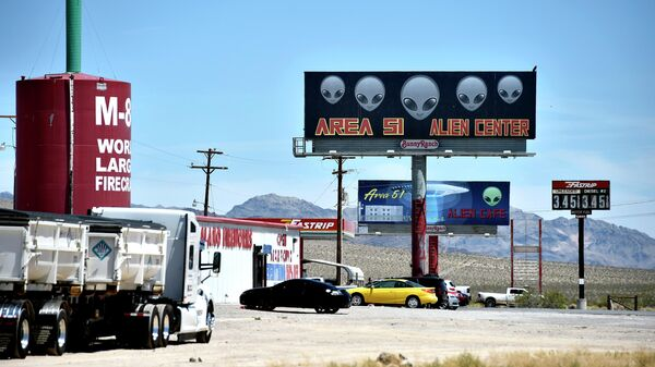 Место сбора участников штурма военной базы Зона 51 в США у шоссе 95 в Неваде