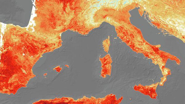 Карта температуры поверхности суши и моря в Европе 25 июля 2019