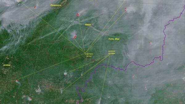 Космические снимки лесных пожаров в Сибири. 29 июля 2019