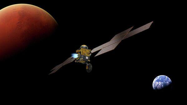 Так художник представил себе аппарат Mars Return Orbiter, который доставит образцы пород с Марса на Землю