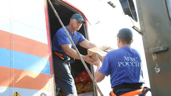 Сотрудники МЧС РФ во время ликвидации последствий паводка на Дальнем Востоке