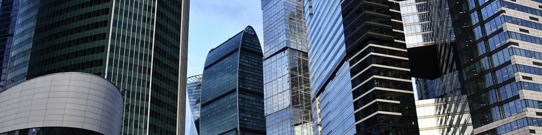 Небоскребы делового центра Москва-сити. В центре: башни Империя и Город столиц