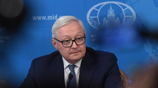 Заместитель министра иностранных дел России Сергей Рябков во время брифинга в связи с прекращением действия Договора о РСМД