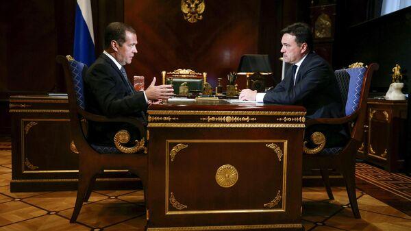 Председатель правительства России Дмитрий Медведев и губернатор Московской области Андрей Воробьев. 7 августа 2019