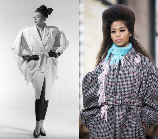 Модель одежды сезона 1991 года художника-модельера Вячеслава Зайцева / Модель на показе коллекции Miu Miu в Париже. 2018 год