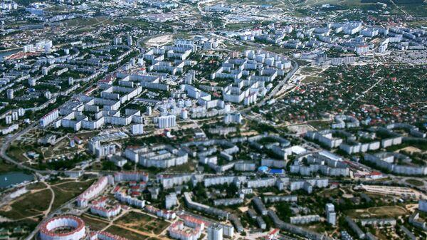 Вид на Севастополь из окна самолета