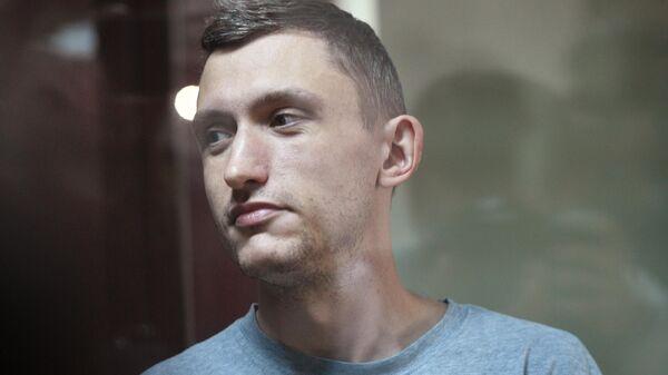 Константин Котов, задержанный на несанкционированной акции 10 августа в Москве, во время избрания ему меры пресечения. 14 августа 2019