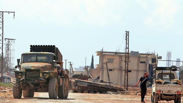 Сирийские правительственные войска в городе Хан-Шейхун в провинции Идлиб