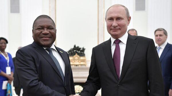 Президент РФ Владимир Путин и президент Мозамбика Филипе Ньюси во время встречи