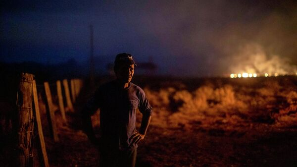 Бразилец Нери душ Сантуш смотрит на пожар на ферме, где он работает в муниципалитете Нова Санта-Хелена, штат Мату-Гросу, Бразилия. 23 августа 2019