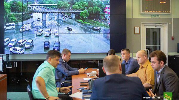 На заседании оперативного штаба по ликвидации последствий непогоды во Владивостоке. 27 августа 2019