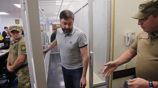 Руководитель портала РИА Новости Украина Кирилл Вышинский на заседании апелляционного суда Киева