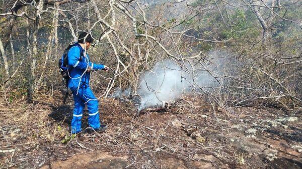 Президент Боливии Эво Моралес принимает участие в тушении природных пожаров в лесу региона Чикитания