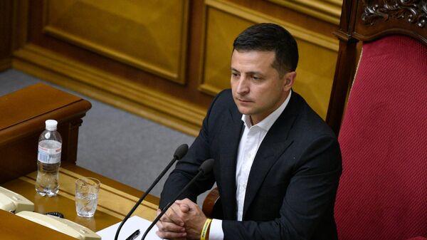 Президент Украины Владимир Зеленский на первом заседании девятого созыва Верховной рады