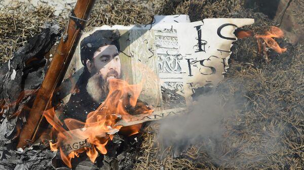 Портрет лидера ИГ* Абу Бакра аль-Багдади сжигают во время демонстрации в Индии