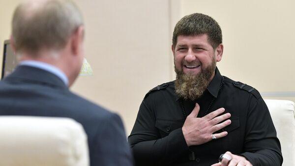 Глава Чеченской Республики Рамзан Кадыров во время встречи с президентом РФ Владимиром Путиным