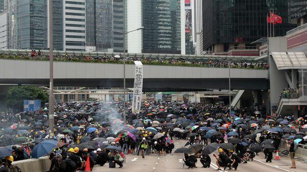 Участники акции протеста в Гонконге. 31 августа 2019
