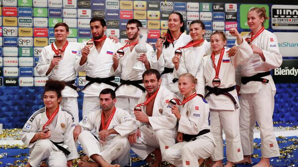 Члены сборной России по дзюдо на чемпионате мира