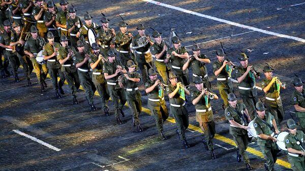 Оркестр альпийских стрелков Тридентина имени старшего капрала Андреа Моранди  на церемонии закрытия фестиваля Спасская башня на Красной Площади в Москве