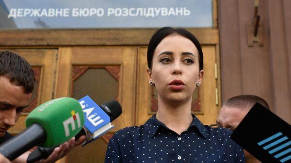 Пресс-секретарь Государственного бюро расследований Украины Анжелика Иванова во время брифинга перед журналистами у здания ГБР. 6 сентября 2019