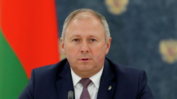 Премьер-министр Белоруссии Сергей Румас во время заявления для прессы по итогам российско-белорусских переговоров