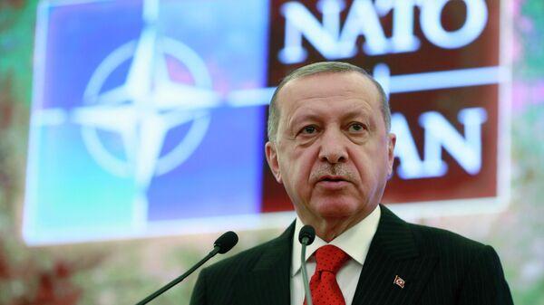 Президент Турции Реджеп Тайип Эрдоган выступает на заседании НАТО в Анкаре