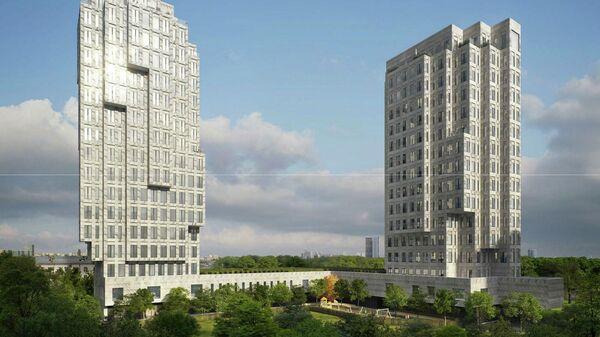 Проект многофункционального жилого комплекс по проекту бюро Меганом на Звенигородском шоссе в Пресненском районе Москвы