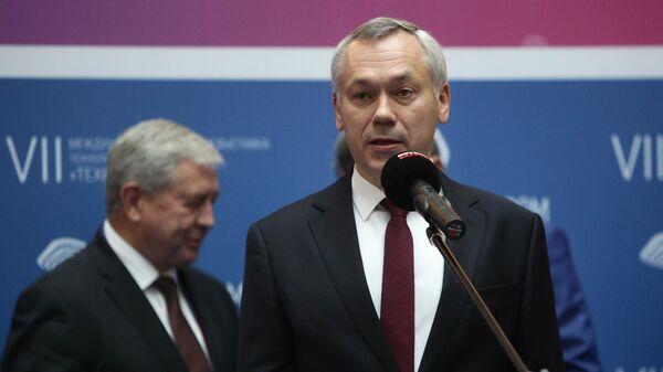 Губернатор Новосибирской области Андрей Травников выступает на церемонии открытия Международного форума технологического развития Технопром-2019
