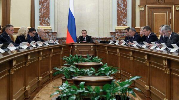 Председатель правительства РФ Дмитрий Медведев проводит заседание правительства России