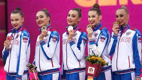 Призеры в групповых упражнениях по художественной гимнастике 2019 в Баку: сборная команда России, завоевавшая золотые медали.