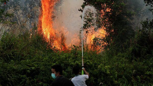 Пожарные-добровольцы тушат лесные пожары в Индонезии