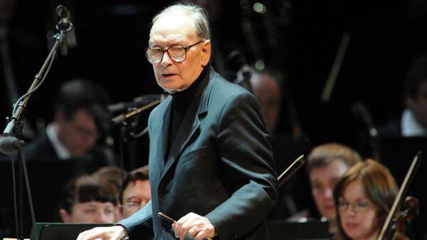Композитор и дирижер Эннио Морриконе выступает с концертом в Кремлевском Дворце в Москве