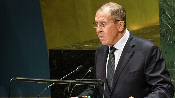 Сергей Лавров выступает на Генассамблее ООН