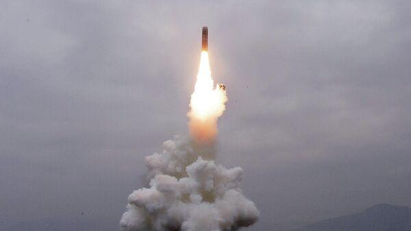 Испытательный пуск нового типа ракеты с подводной лодки в водах залива Вонсан Восточно-Корейского моря