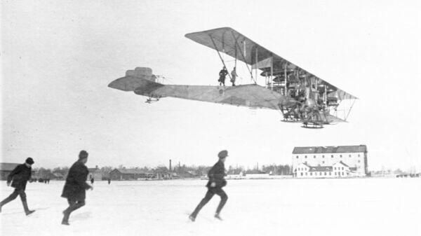 Пробный полет аэроплана Илья Муромец, построенного на Русско-Балтийском вагонном заводе