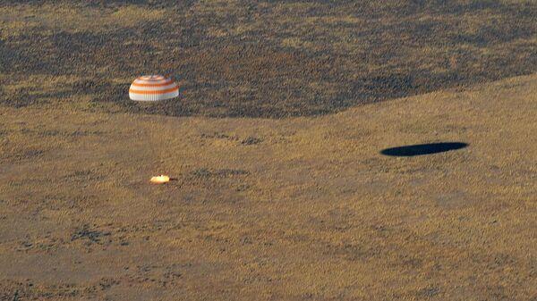 Посадка спускаемого аппарата пилотируемого космического корабля Союза МС-12. 3 октября 2019