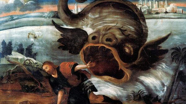 Иона во чреве кита. Дерево, масло. Тобольск, XVIII век