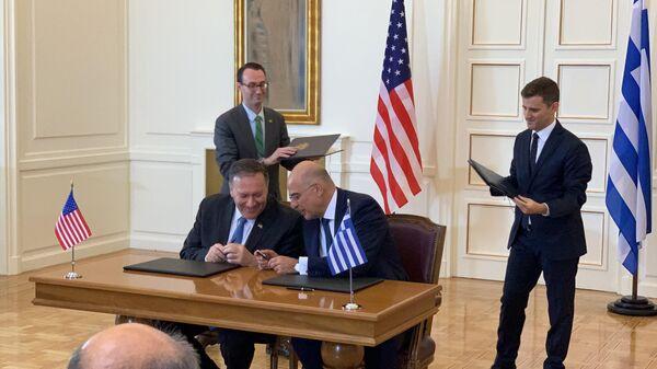 Государственный секретарь США Майк Помпео в МИД Греции. 5 октября 2019