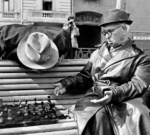 Пенсионеры играют в шахматы на скамейке в сквере