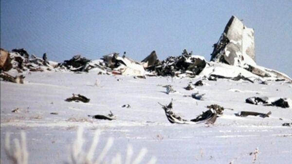 Место крушения ведомственного самолета АН-72 пограничной службы Казахстана неподалеку от Шымкент