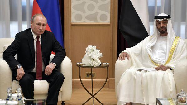 Президент РФ Владимир Путин и наследный принц Абу-Даби, заместитель верховного главнокомандующего вооружёнными силами Объединённых Арабских Эмиратов Мухаммед бен Заид Аль Нахайян