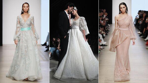 Модели демонстрируют одежду из коллекции Speranza Couture дизайнера Надежды Юсуповой на площадке Mercedes-Benz Fashion Week Russia в Центральном выставочном зале Манеж в Москве