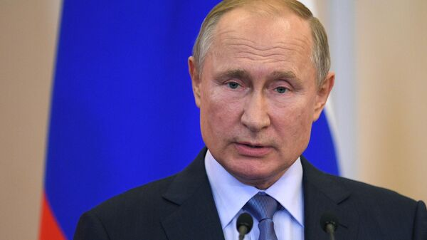 Президент РФ Владимир Путин на совместной с президентом Турции Реджепом Тайипом Эрдоганом пресс-конференции по итогам встречи