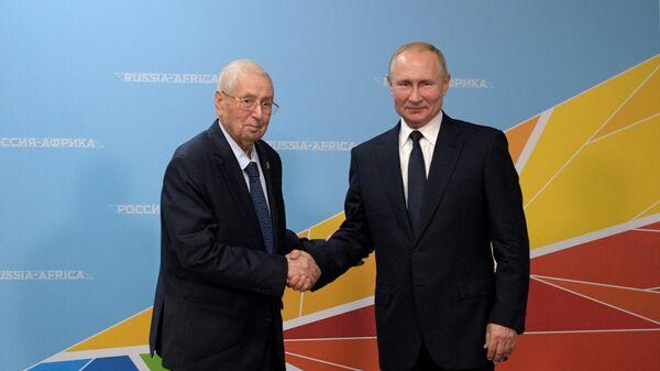 Президент РФ Владимир Путин и глава государства Алжирской Народной Демократической Республики Абделькадер Бенсалах во время встречи на полях саммита Россия - Африка. 24 октября 2019