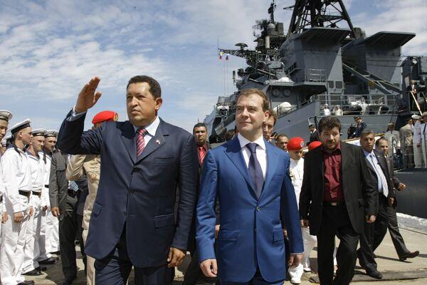 Президенты России и Венесуэлы посетили противолодочный корабль Адмирал Чабаненко