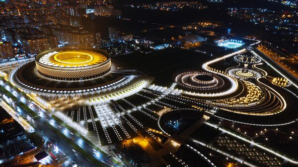 Вечерняя подсветка стадиона Краснодар и городского парка